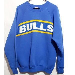 vintage bulls graphic pull on bulls sweater crew